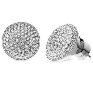 Michael Kors Concave Glass Pave Stud Earrings
